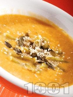 Крем супа от червена леща, картофи, моркови и зелен фасул - снимка на рецептата